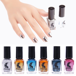 Wholesale Cheap Nail Paints - Wholesale-6 Color Mirror Metal Effect Gel Nail Polish Sky Blue Professional Primer Glue Cheap Nail Art Gel Lacquer Color Tale Paint Set