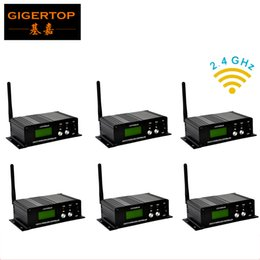 Wholesale Frequency Receiver - Fedex Shipping 6pcs lot 2.4G Wireless DMX 512 Transmitter Receiver 16 frequency group DMX 512 Channels stage lighting remote controller