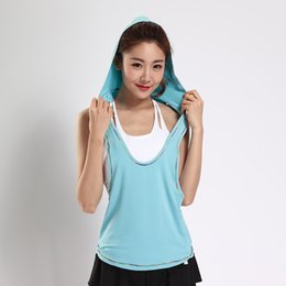 Wholesale Hooded Singlets - Summer Hollow Back Women Tank Tops Hooded Female Dry Quick Loose Fitness Vest Singlet Women's T-Shirts