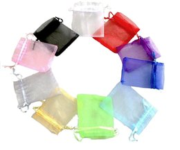 Favorecer bolsas de regalo online-500 piezas 13 x 18 cm / 5,1 x 7 pulgadas Bolsas de regalo Organza Bolsas para el favor de la boda Bolsas de joyería, paquete de 100 colores aleatorios 5 paquetes / lote