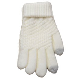 Wholesale Wholesale White Cotton Gloves - New Solid Magic Gloves Women Girl Female Stretch Knit Gloves Mittens Hot Winter Warm Accessories Wool Guantes