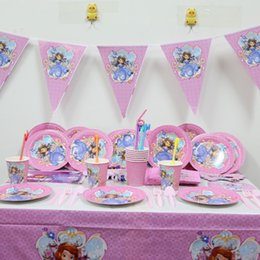 Wholesale Decoration Birthday Baby - Wholesale-132pc\lot Sofia Princess Birthday Party Tablecloth Baby Shower Dishes Kids Favors Decoration Paper Plates Cups Pennants Supplies