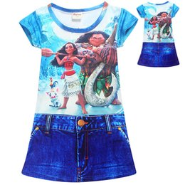 Wholesale Denim Print Brief - Moana Girls Denim Skirt One-Piece Dresses Two-sided Print Beauty and the Beast Short Sleeve Dresses Moana Cartoon 4-10T