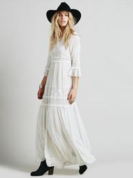 Wholesale Bohemia Maxi Long White Dress - 2017 Women summer Bohemia embroidery maxi dress women's white ruffles elegant sweet long loose dress fashion party dresses