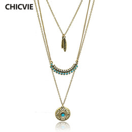 Wholesale Ethnic Long Necklaces - CHICVIE Long Bohemian Gold plated Beads Necklaces & Pendants for Women Boho Vintage Statement Turquoise Colar Ethnic Jewelry