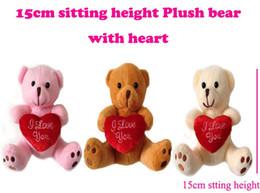 "Wholesale Love Teddy Bear Doll - 15cm(6"") INS Xmas Miniature Tiny Small Plush Teddy Christmas Bear Love With Heart on Foot Christmas Doll Gift Baby Shower"
