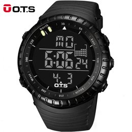 Wholesale Watches Ots - OTS Men Sports Watches LED Digital Swimming Climbing Outdoor Cool Black Mens Fashion Large Face Christmas Boys Gift