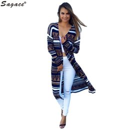 Wholesale Modern Cardigans - Wholesale- Modern Womens Casual Long Sleeve Cardigan Fashion Ladies Autumn Open Stitch Sweaters Geometric Pattern Crocheted Long Coat Aug12