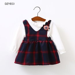 Wholesale Kids School Dress - Autumn Winter Baby Girl Dress Clothes Back To School Uniform Fashion Kid Plaid Flower Party Princess Frock Children Clothing Costume
