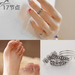 Wholesale Finger Foot - Women Lady Unique Adjustable Opening Finger Ring Fashion Simple Sliver Plated Retro Carved Flower Toe Ring Foot Beach Jewelry