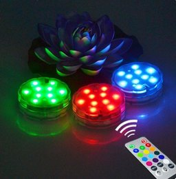 Wholesale Submersible Led Vase Lights - Remote Controlled Submersible Vase Pool Decoration Lamp 10 LED RGB Waterproof Lights For Wedding Holiday Party Decor