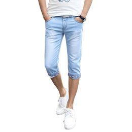 Wholesale Teenagers Jeans - Wholesale- New arrival Hot summer slim fit cuffs men's casual shorts teenager straight thin short jeans cotton shorts men's shorts 41CQ