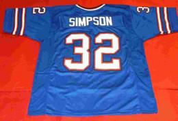 Wholesale Custom Rugby - Cheap retro #32 OJ SIMPSON CUSTOM JERSEY bule Mens Stitching Throwback Size S-5XL Football jerseys