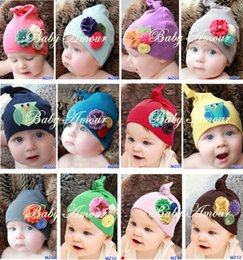Wholesale Cheap Flower Girl Hats - Cotton Baby girl children Nonwoven cloth cap Cute kids Cheap floral Non Woven Fabric hat newborn baby big flower beanies photo props SEN243