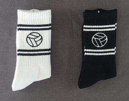 Wholesale embroidered football - Gosha Football Embroidered Socks Pure Color Cotton Socks Man And Women's Sock White And Black