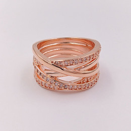 Wholesale Wholesale Silver Engagement Rings - Rose Gold Plated & 925 Sterling Silver Ring Rose Entwined European Pandora Style Jewelry Charm Ring Gift 180919CZ
