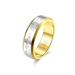 Wholesale Men Yellow Gold Wedding Ring - 18k Gold Forever Love Ring For Men Heart Stainless Steel Ring 6MM Hip-Hop Finger Ring For Male Party Club Wear