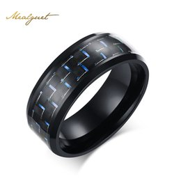 Wholesale Carbon Fiber Ring Wedding Band - Meaeguet Fashion Black Simple Men Ring 8mm Men Jewelry Stainless Steel Rings Carbon Fiber Wedding Engagement Ring 3 Colors