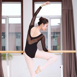 Wholesale Adult Women Dance Stage Costumes - Ballet Leotard Adult Long Sleeve Black Stage Dancing Costume Ballet Gymnastics Leotards For Women