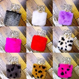 Wholesale Real Diamond Iphone Case - For iPhone X Rex Rabbit Hair Warm Fur Soft Plush Leather TPU Case Real Luxury Bling Diamond Rhinestone Lady Cover For iPhone 8 7 Plus 6 6S