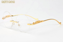 aa3b864cc0 with box 2017 round buffalo horn glasses leopard gold metal frames men women  rimless circle eyeglasses sun glasses