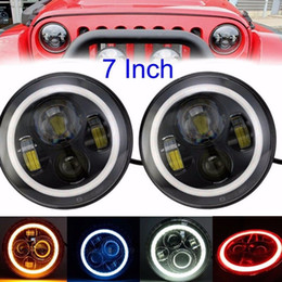 Wholesale Blue H4 - 7 Inch Led Headligt H4 H13 Round Shape 7'' Headlights With White Amber Blue Red Angel Eyes for Offroad Jeep TJ Wrangler JK
