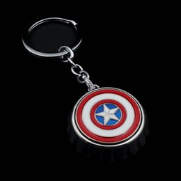 Wholesale Opener Key Chain - 4*4CM Captain America Shield Key Chains Pendant Cool Men's Keyring Marvel Super Hero Keychain Bottle Opener Car Bag Accessories