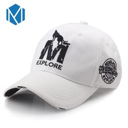 Wholesale Wholesale Casual Wear For Men - Wholesale- Miya Mona Unisex Letter M Cap Snapback Caps Bone Hat Distressed Wearing Style Hat For Men Custom Hats
