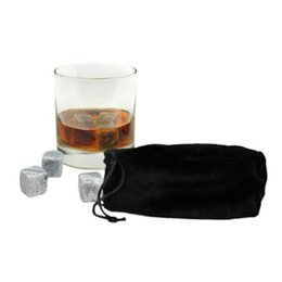 Wholesale Stone Ice Cube Rocks - Whiskey Ice Stones Cubes Natural 9Pcs Set Whisky Stones Cooler Whisky Rock Brain Freeze Ice Cooler With Velvet Storage Pouch