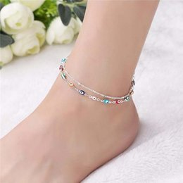 Wholesale Womens Ankle Bracelet Silver - Fashion Handmade Devil Eye Ankle Chain S925 Sterling Silver Multi Layer Ankle Bracelets Gifts Barefoot Sandals Womens Anklet Free Shipping