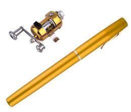 Wholesale Telescopic Freshwater Fishing Rod - Mini Fishing rod portable Pocket Telescopic Aluminum Alloy Pen Shape Fishing Rod With Reel Wheel 7 Colors