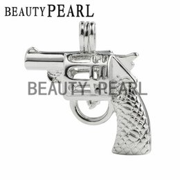 Wholesale Diy Gemstone Pendant - 10 Pieces Wholesale Love Pearl Gemstone Beads Lockets Charm Pendant Mountings Cage DIY Jewelry Gun Cage
