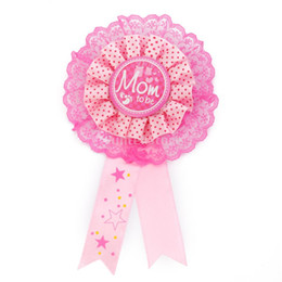 Wholesale Wholesale Awards - Wholesale- Mom To Be Writing Award Ribbon Badge for Baby Shower Party Favor Pink Free Shipping