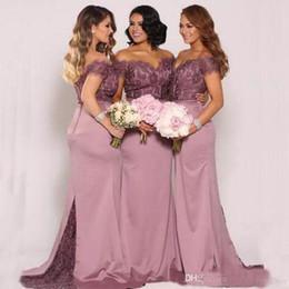 Wholesale royal purple colors - Classic Mermaid Bridesmaid Dress V-NECK Off the Shoulder Lace Top Fit Bridesmaids Dresses Sheer Train Choose Colors From Color Chart