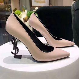 Wholesale High Heels Size 42 - Black Patent leather letter Pumps 10cm Women Dress Wedding Shoes brand Unique Designer Pointed toe Slip on Saint T Show Ladies Pumps Size 42