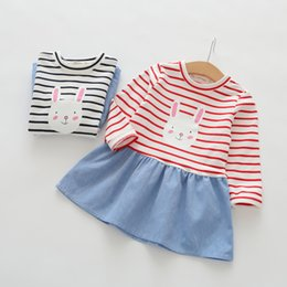 Wholesale Lemon Package - Spring and autumn new popular children's cotton skirt girls cartoon rabbit stripe patchwork dress child skirt package freight