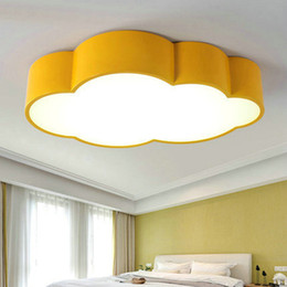 Wholesale kids ceiling lights for bedroom - Led Cloud kids room lighting children ceiling lamp Baby ceiling light with yellow blue red white for boys girls bedroom fixtures