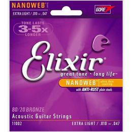 Wholesale Guitar Lit - Elixir 11002 Nanoweb ultra thin coating Acoustic guitar strings Extra Light .010--.047 elixir strings