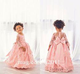 Wholesale Modern Christening Dresses - Modern Lace Long Sleeves Flower Girls Dresses Ball Gown 2016 Blush Bow Ruffles Floor Length Girls Pageant Dress Kids Dress Communion Gowns