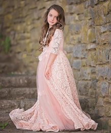 bb2c82bbc New Design Blush Pink Kids Pageant Dresses Lace Flower Girls Dress For  Wedding A Line Half Sleeve Overskirts High Quality communion dress