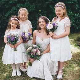 Wholesale Country Lovely - Lovely 2017 Lace Flower Girls Dresses For Garden Bohemian Country Weddings Cheap Jewel Short Sleeves Tea Length Birthday Gowns EF70512