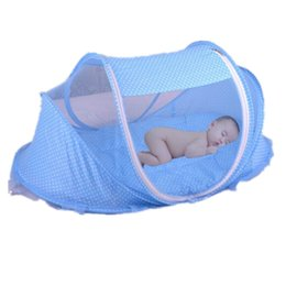 Wholesale Blue Mosquito Net - Wholesale-Portable Baby Bed Bedding Crib Folding Mosquito Net Children Crib Netting Blue Pink Baby Bed Canopy Mosquito Net Maio Infantil
