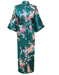 Wholesale Wholesale Plus Size Satin Robes - Wholesale- Brand New Wedding Bride Bridesmaid Robe Satin Rayon Bathrobe Nightgown For Women Kimono Sleepwear Flower Plus Size S-XXXL S02D