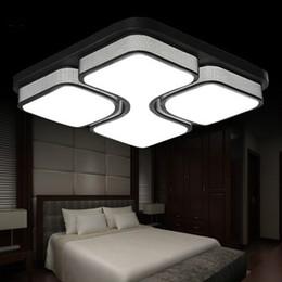 110V 220V Square Acrylic LED Ceiling Light White Black Color Iron Lamp For Living Room Modern Home Lighting