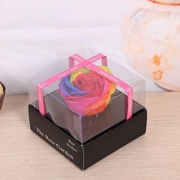 cajas de jabón rosa Rebajas Creative Rose Flowers Soap Gift Box Flower Best Wishes para favores de la boda Presentar artículos del festival Multicolor opcional 7 5my C R