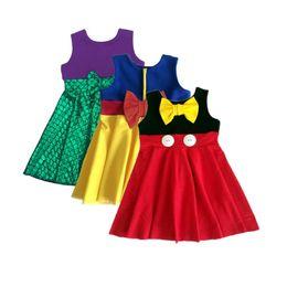 Wholesale Girls Baby Leopard Dresses - Summer Shiny Girls Sleeveless Snow White Baby Girls Dress Cotton Shiny Green Beauty Mermaid Sundress Girls Princess Costumes