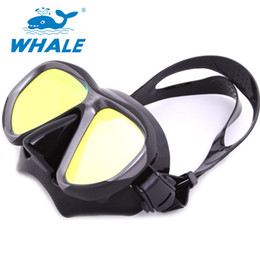 Wholesale Swimming Mirror - Wholesale- Whale Professional High Quality Mirrored Lens Scuba Silicone Strap Diving Black Swimming Mask Snorkel Sport Anti Fog Goggles