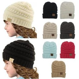 Wholesale Knitted Baby Skull Caps - 8 Colors Simple Chunky Caps Kids Winter Warm Hat Knitted CC Hat Stretchable Knitted Beanies Baby Skull Cap With CC Label CCA6780 50pcs