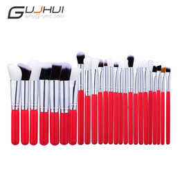 Wholesale Makeup Brushes Synthetic Natural - Gujhui 25pcs Red and Silver Makeup Tools Foundation Professional Powder Blushes Natural Synthetic Hair Make Up Brushes
