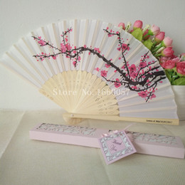 Wholesale Cherry Blossom Wedding Favor Boxes - Cherry Blossom Silk Bamboo Craft Fan Wedding Favor Plum Blossom Hand Folding Fan Wintersweet Bamboo Fans+Paper Gift Box+DHL Free Shipping